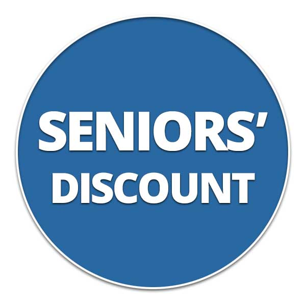 Senior's Discounts Available